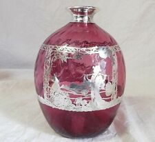 OLD Antique SILVER OVERLAY CRANBERRY GLASS BOTTLE Scent or Decanter ASIAN Scene