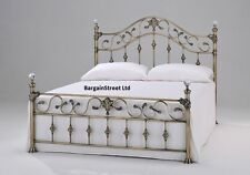 New Luxury King Size 5ft Brass Bed Frame Bedstead Brass CRYSTAL FINIALS