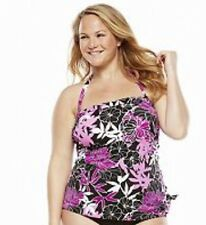 Woman's Plus Size Tankini Bathing Suit Top Upstream Pink Exotic Journey New 22W