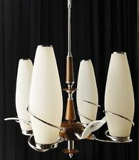 Antique silverplated Brown bronze chandelier and wood Tulips original