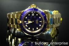 Mens Invicta Pro Diver 18kt Gold Plated Automatic NH35A Blue Watch New