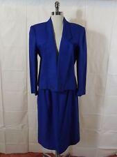 Amazing Vtg 1960s Carlisle Brilliant Blue Silk Wool Blend 2 Pc Skirt Suit Sz 10