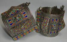 Pair Huge Silver Enamel Moroccan Berber Ethnic Tribal Spike Bracelets- 730 grams