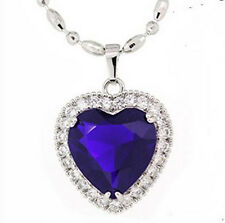 Heart of The Ocean Lady's 925 Silver Sapphire CZ Diamonique Pendant Love Gift