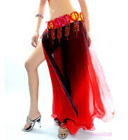 NEW Sexy Belly Dance Costume Skirt 2 layers with slits Skirt 6 colors