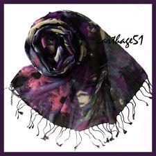 Etole Echarpe foulard 100 % Laine - Gris rose violet écru