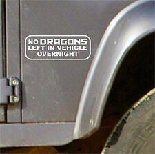 NO DRAGONS LEFT IN VEHICLE Funny Car/Van/Bumper/Window Sticker Game of Thrones