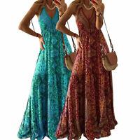 Women's Sexy V-neck Sling Long Maxi Dress Boho Summer Floral Party Sundress