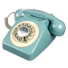 New Wild Wood Rotary Design Retro Landline Phone for Home, Office, French Blue