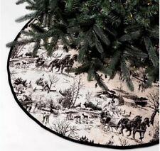 """Threshold Black Ivory Toile Tree Skirt Holiday Christmas Nature Velvet Trim 50"""""""