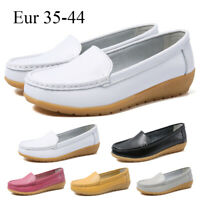 Women's Ladies Moccasins Loafers Flats Comfy Office Casual Shoes Work Leather