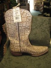 STETSON NEW Ivory Brown Distressed Crackled Bark Leather Western Boots Womens 8