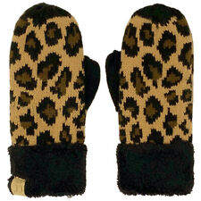 CC Kids Ages 4-7 Thick Fleeced Lined Matching Winter Mittens Gloves Leopard Blac
