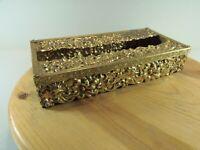 """VINTAGE Solid Brassl Tissue Kleenex Box Standard Size 5"""" x 10"""" Gold Toned"""