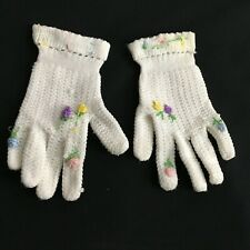 Vintage Little Girls Knit White Easter Dressy Gloves Floral