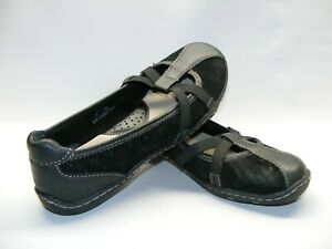 Born Women's Size 7 M Black Leather Suede Flats Mary Jane Straps Shoes #BC07990S