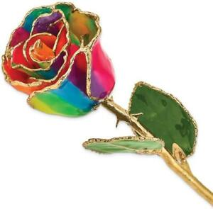 Lacquer Dipped Gold-Tone Trim Aurora Neon Rainbow Rose