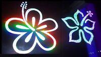 Custom Holographic Stardust Hibiscus Outline Pair Vinyl Car Window Decal Sticker
