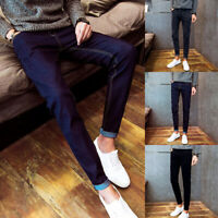 Men Solid Jeans Trousers Denim Long Pants Slim Fit Casual Skinny Cargo Warm Fall