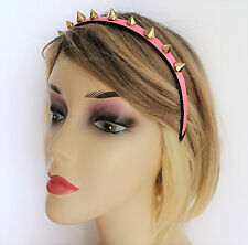 Fab Pink Leather Look Headband with Gold Tone Studs Goth Punk 1 cm wide