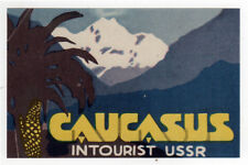1930s CAUCASUS USSR Soviet Union TRAVEL Decal LABEL Intourist RUSSIA Mountains