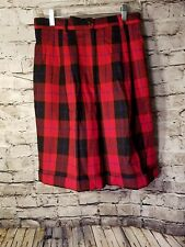 NWT Talbots women's shorts Size 8 Red Tarten plaid 100% Wool Pleated Lined t71