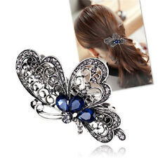 Blue Crystal Rhinestone Butterfly Hair Barrette Clip Hairpin Women Jewelry Gift