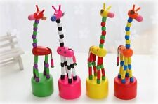 Kids Baby Wooden Hand Doll Animal Toy Dancing Standing Swing Giraffe Colorful