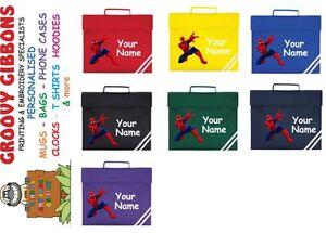 Personalised Spiderman  school  Book Bag Reading Library Folder homework