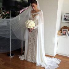Elegant White/Ivory Wedding Capes Chiffon Off Shoulder Lace Bridal Cloaks Jacket