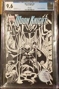 Moon Knight Rare CGC Graded 9.6 2006 #20 B&W Sketch Cover Variant Lot