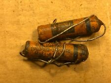 2 Nos Cornell Dubilier Dwarf Tiger Wax Capacitors .0001 uf 600v Treble Bleed Cap
