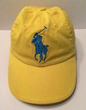 RALPH LAUREN FRAGRANCES 3 Cap Hat Yellow With Large Blue Horse Adjustable Adult*