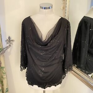 Jacques Vert UK 16 black lace beaded sparkly floaty top party occasion loose VGC