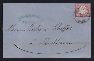 Germany Alsace 1874 1gr Large Shield Cover Wesserling to Mulhouse