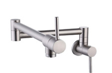 Pot Filler Faucet Commercial Wall Mount Kitchen Brass Brushed Folding Dual Joint