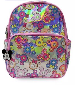 Disney Store Mickey & Minnie Mouse Donuts Iridescent Backpack UB