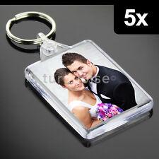 5x Premium Quality Clear Acrylic Blank Photo Keyrings Key Fobs 50 x 35 mm