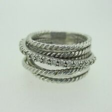 Sterling Silver David Yurman Diamond Twist Cable Ring Size 6