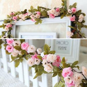 7ft Artificial Rose Vine String Fake Flower Ivy Leaf Garland Floral Decoration