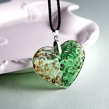 Heart Murano Lampwork Glass Pendant Necklace Chain Sweater Women Jewelry Gift