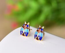 Chinese Vintage Cloisonne Blue bettle insect Handmade Stud Earrings 925 Silver