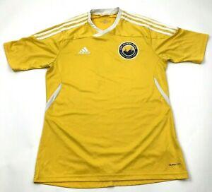 Adidas CDO Soccer Jersey Size Medium Yellow White Dry Fit Vneck Tee Short Sleeve