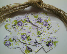 Eat Me Floral Heart Gift Tags / Labels Vintage Style Afternoon Tea Party x 25