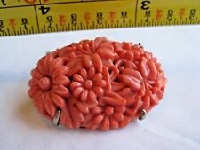 BAKELITE FLOWER BOUQUET DEEPLY CARVED PIN VINTAGE CORAL COLOR FREE SHIPPING