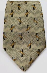 """Robert Talbott Silk Gold Geometric Design 58"""" Long 4"""" Wide Necktie Tie"""