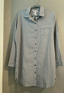 New Victoria's Secret Sz Large Blue Stripe Button Front Night Shirt w. Collar
