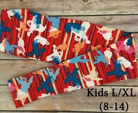 KIDS L/XL LuLaRoe HALLOWEEN Leggings; BLUE WHITE RED GHOSTS Sizes 8-14 Childrens
