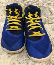 Under Armour Sc Curry Basketball Shoes Blue Yellow Size 2Y Sneakers