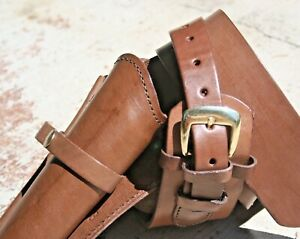 NEW Leather Holster and Belt Brown Smooth Leather Stitched in Mexico NICE 70022